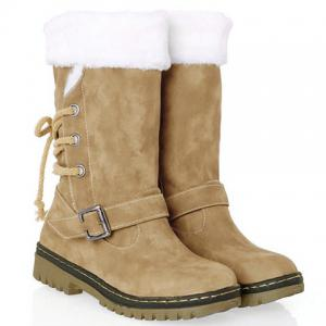 Vintage Suede and Buckle Design Women's Boots - Khaki - 39
