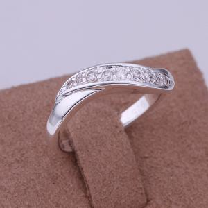 Stylish Rhinestone Prong Setting Curve Ring -  US SIZE 8
