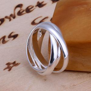 Silver Plated Three Circles Ring -  US SIZE 8