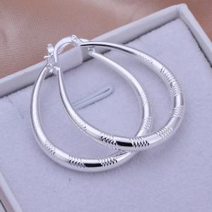 Engraved Alloy Statement Hoop Earrings - Golden