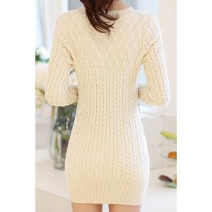 Stylish Long Sleeves Solid Color Sweater Dress For Women -