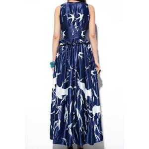 Stylish Jewel Neck Sleeveless Birds Print Long Dress For Women - As The Picture - M