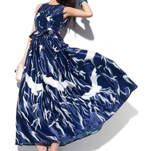 Stylish Jewel Neck Sleeveless Birds Print Long Dress For Women - AS THE PICTURE S