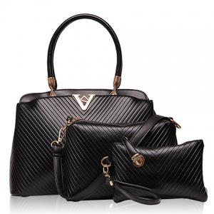 Fashionable Checked and PU Leather Design Women's Tote Bag - Black