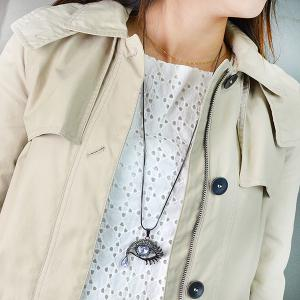 Fake Gem Eye Shape Pendant Sweater Chain