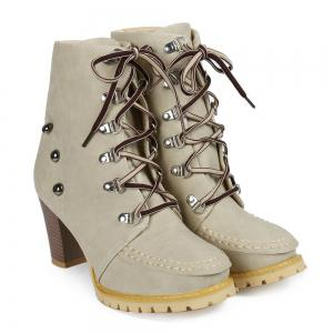 Trendy Lace-Up and Rivets Design Women's Chunky Heel Short Boots - Apricot - 38