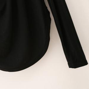 Draped Collar Long Sleeve Plain T-Shirt - BLACK M