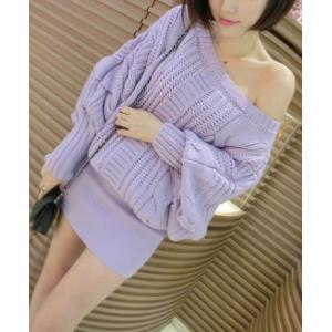 Stylish Slash Neck Hemp Flowers Knitted Batwing Sleeve Women's Dress