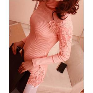 Stylish Turtle Neck Long Sleeve Lace Spliced Solid Color Women's Sweater - Pink - One Size(fit Size Xs To M)