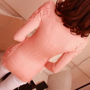 Stylish Turtle Neck Long Sleeve Lace Spliced Solid Color Women's Sweater -