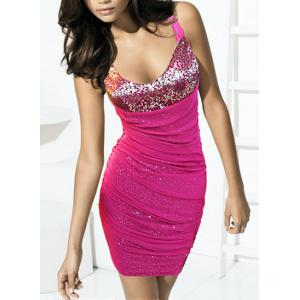 V-Neck Ruched Glitter Cocktail Prom Dress