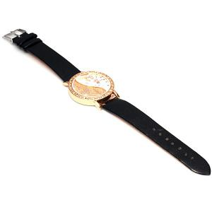 DFa 6541 Female Quartz Watch Diamond Round Dial Leather Watchband -