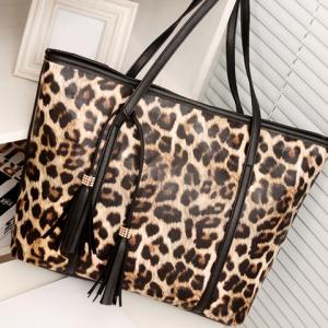 Gorgeous Leopard Print and Tassels Design Women's Shoulder Bag -