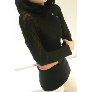 Stylish Turtleneck Long Sleeve Lace Splicing Sweater For Women