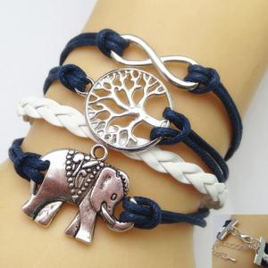 Infinity Tree of Life Elephant Multilayered Friendship Bracelet