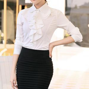 Stylish Turn-Down Collar Flouncing Design Long Sleeve Women's Blouse -