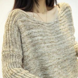 Scoop Neck Long Chunky Sweater with Scarf -