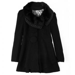 Stunning Style Long Sleeves Worsted Rhinestone Buttons Decoration Women's Coat -