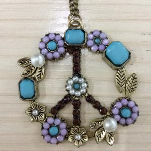 1pcs Europestyle Vintage Peace Sign Inserting Colorful Beads Necklace -
