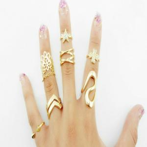7PCS Star Leaf Rings - Golden - One-size