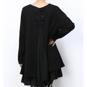 Casual Scoop Neck Long Sleeve Spliced Loose-Fitting Women's Dress - Black - 4xl