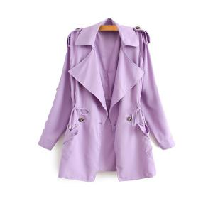 Stylish Lapel Neck Long Sleeve Solid Color Lace-Up Epaulet Women's Trench Coat