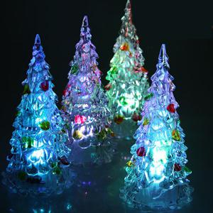 4Pcs 12cm Multi-Color Slow Twinkle Romantic LED Desktop Crystal Christmas Tree with Colorful Leaves Decoration -