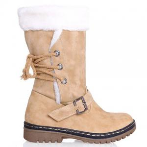 Vintage Suede and Buckle Design Women's Boots - BEIGE 37