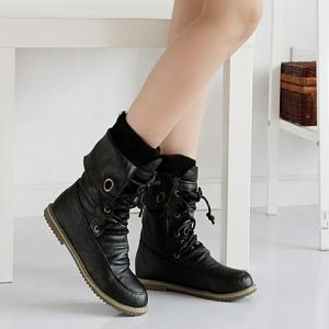 Lace Up Ruched Mid Calf Boots - BLACK 34