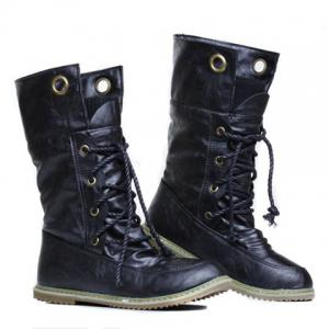 Lace Up Ruched Mid Calf Boots - BLACK 37