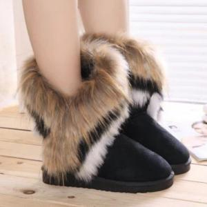Furry Mid Calf Boots - BLACK 40