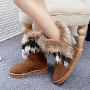 Furry Mid Calf Boots - BROWN 37