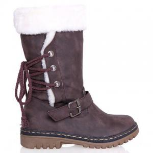Vintage Suede and Buckle Design Women's Boots -