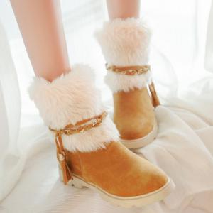 Cute Plush and Tassels Design Women's Snow Boots -