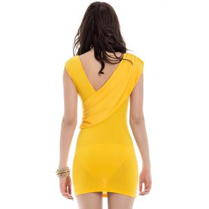 V-Neck Ruffled Sleeveless Bodycon Club Dress - YELLOW ONE SIZE
