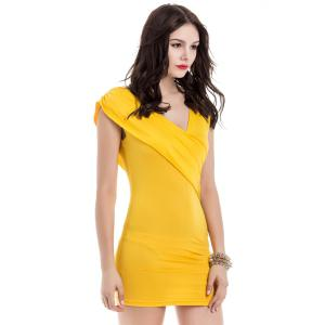 V-Neck Ruffled Sleeveless Bodycon Club Dress -