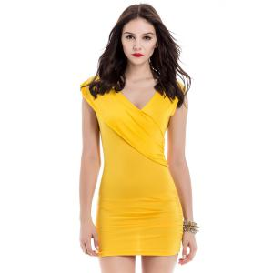 V-Neck Ruffled Sleeveless Bodycon Club Dress