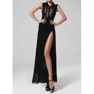 Maxi Lace Insert Chiffon Slit Prom Dress