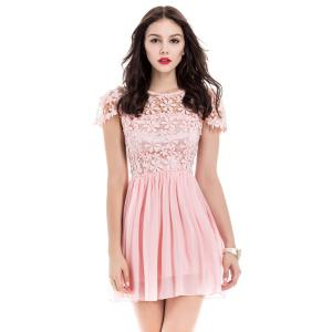 Lace Panel Short Backless Formal Dress - Pink - L