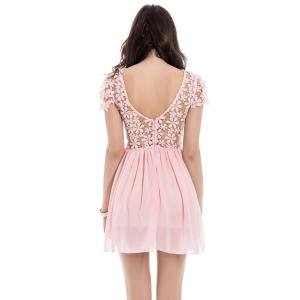 Lace Panel Short Backless Formal Party Dress -