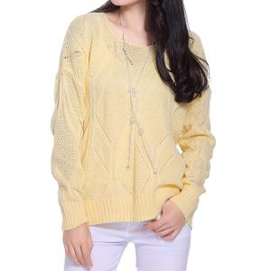 Stylish Scoop Neck Long Sleeve Solid Color Hollow Out Women's Sweater