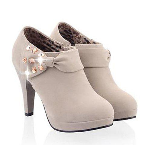 Online Elegant Bow and Rhinestones Design Women's Ankle Boots