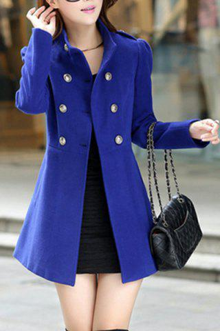 Fancy Stylish Stand-Up Neck Long Sleeve Solid Color Button Design Women's Coat
