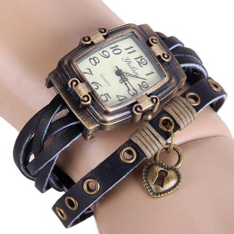 Hot Yulan Female Vintage Style Quartz Watch Rectangle Dial Leather Wristband DEEP BLUE