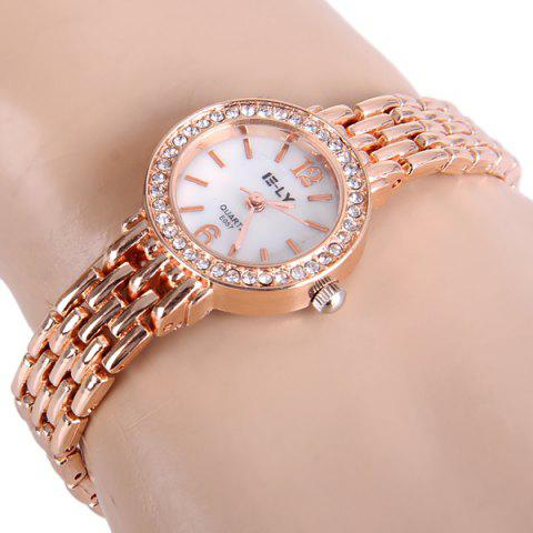 Shops IE-LY E057 Female Diamond Quartz Watch Round Dial Steel Band Chain Wristwatch GOLDEN