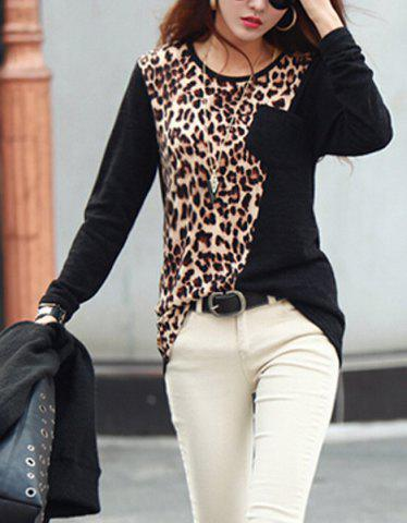 Outfit Stylish Round Neck Leopard Print Long Sleeve Women's T-Shirt