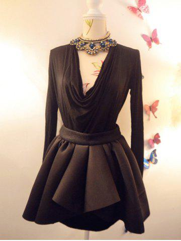 Outfit Vintage Solid Color Asymmetric Skirt For Women