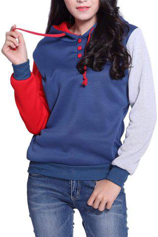 Latest Casual Pockets Design Long Sleeve Hooded Women's Sweatshirt RED L