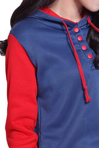 Cheap Casual Pockets Design Long Sleeve Hooded Women's Sweatshirt - L RED Mobile