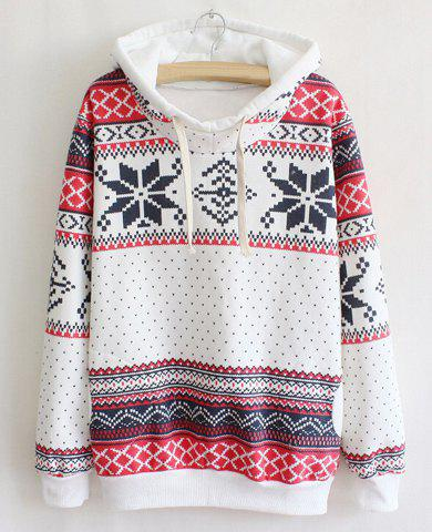Ethnic Style Hooded Long Sleeve Flocky Printed Women's Hoodie - WHITE ONE SIZE(FIT SIZE XS TO M)